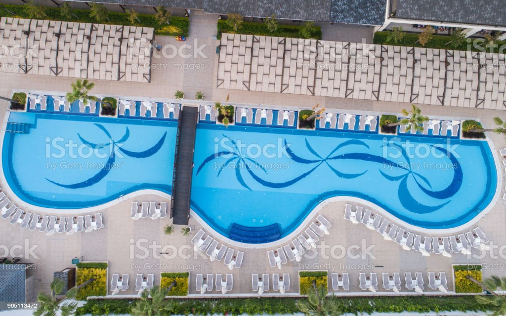 Luxury resort hotel Swimming Pool aerial view photography zbiór zdjęć royalty-free