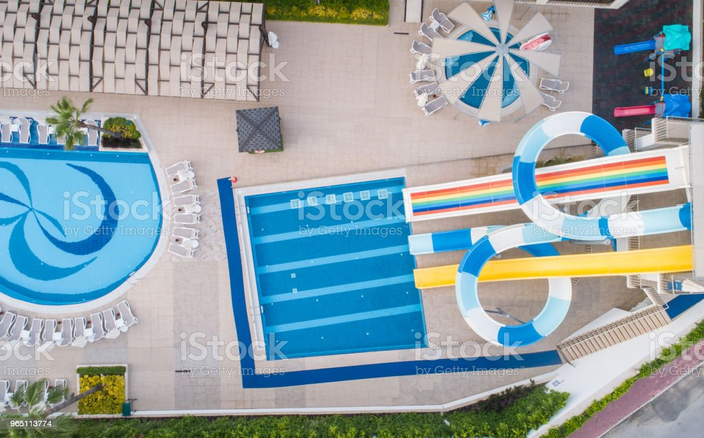 Luxury resort hotel Swimming Pool with water park aerial view royalty-free stock photo