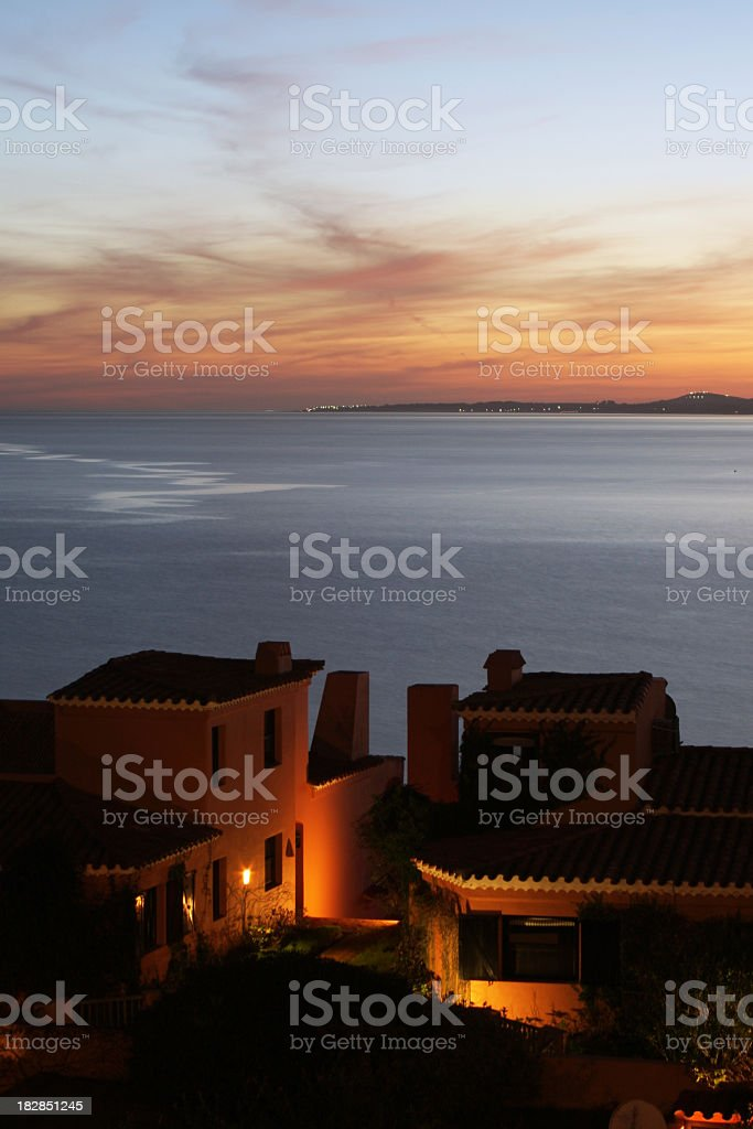 Luxury resort with amazing ocean view at dusk royalty-free stock photo