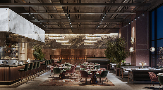 Digitally generated image of a large cafe restaurant interior at night. 3d rendering of a luxury restaurant with elegant decoration.