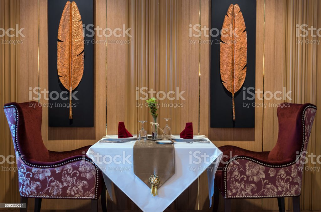 Luxury restaurant set stock photo