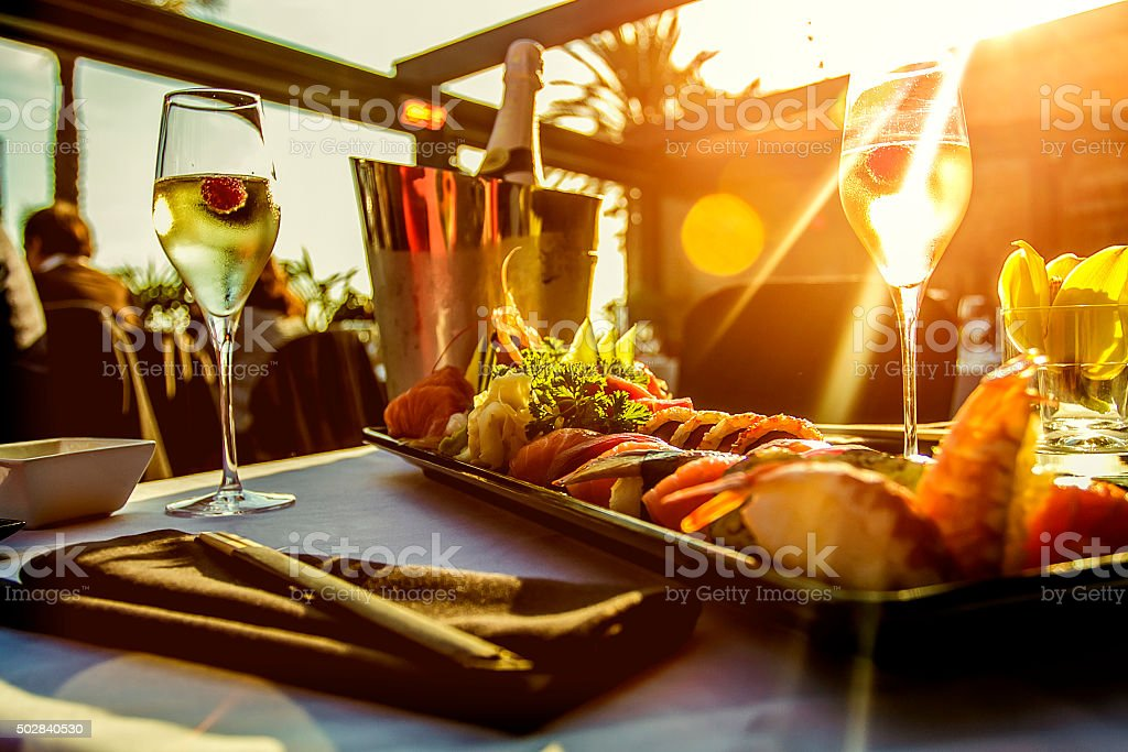 Luxury restaurant table on sunset stock photo
