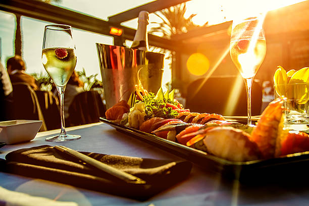 luxury restaurant table on sunset - food and drink stock photos and pictures