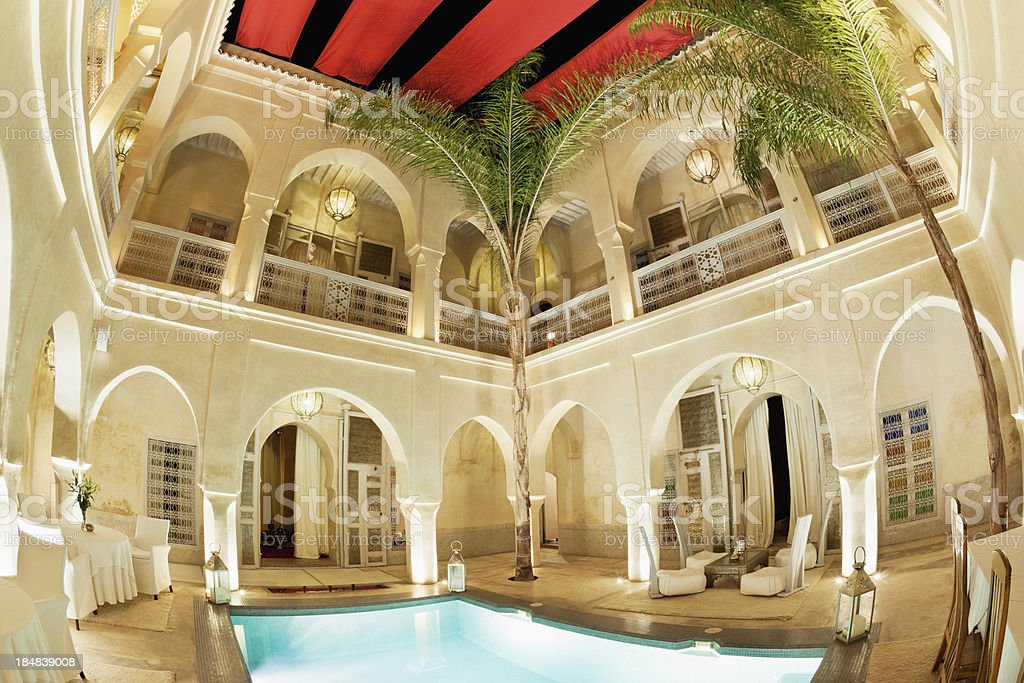Luxury Riad Interior Marrakech Medina royalty-free stock photo