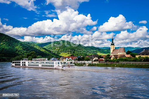Durnstein, Austria-June 1, 2016-The luxury river cruise ship