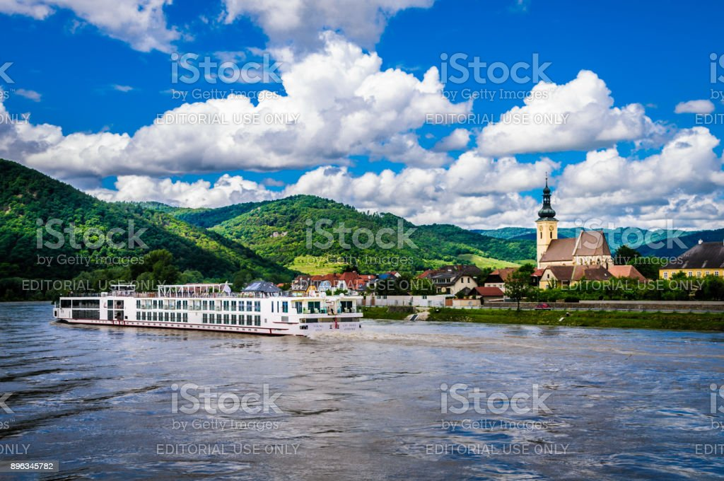 Luxury River Boat Travel stock photo