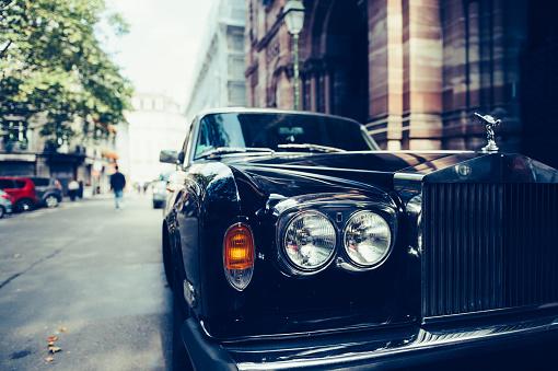 Luxury Rolls Royce Car On Paris Street Stock Photo - Download Image Now