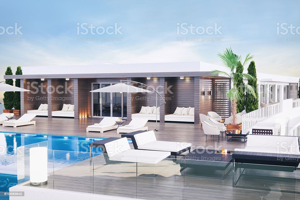 Luxury Rooftop Terrace Lounge stock photo
