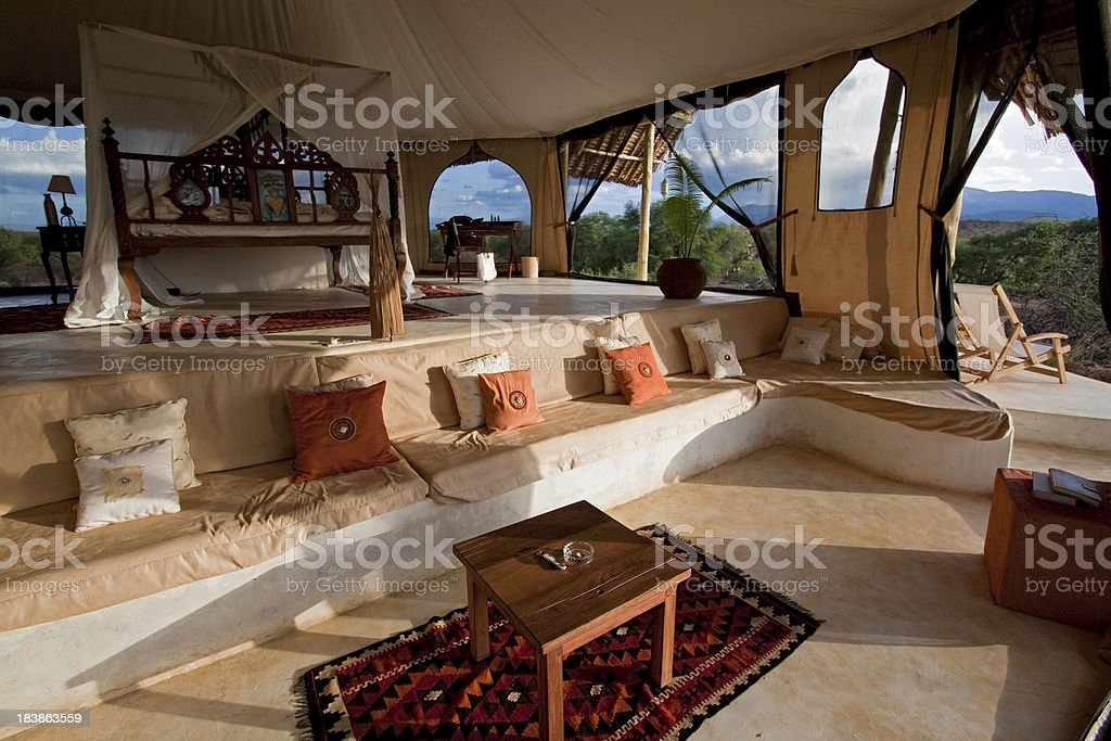 Luxury Safari Bedroom stock photo