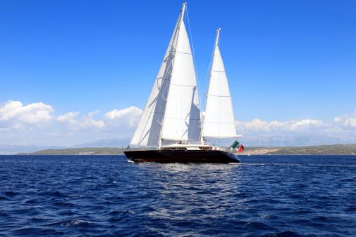 Wonderful sailboat sailing the Adriatic Sea, Brac Island, Croatia.
