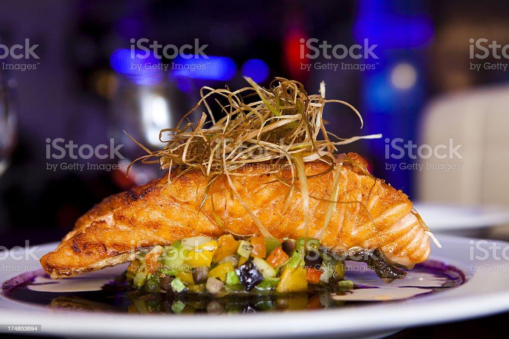 Luxury Salmon Dining stock photo