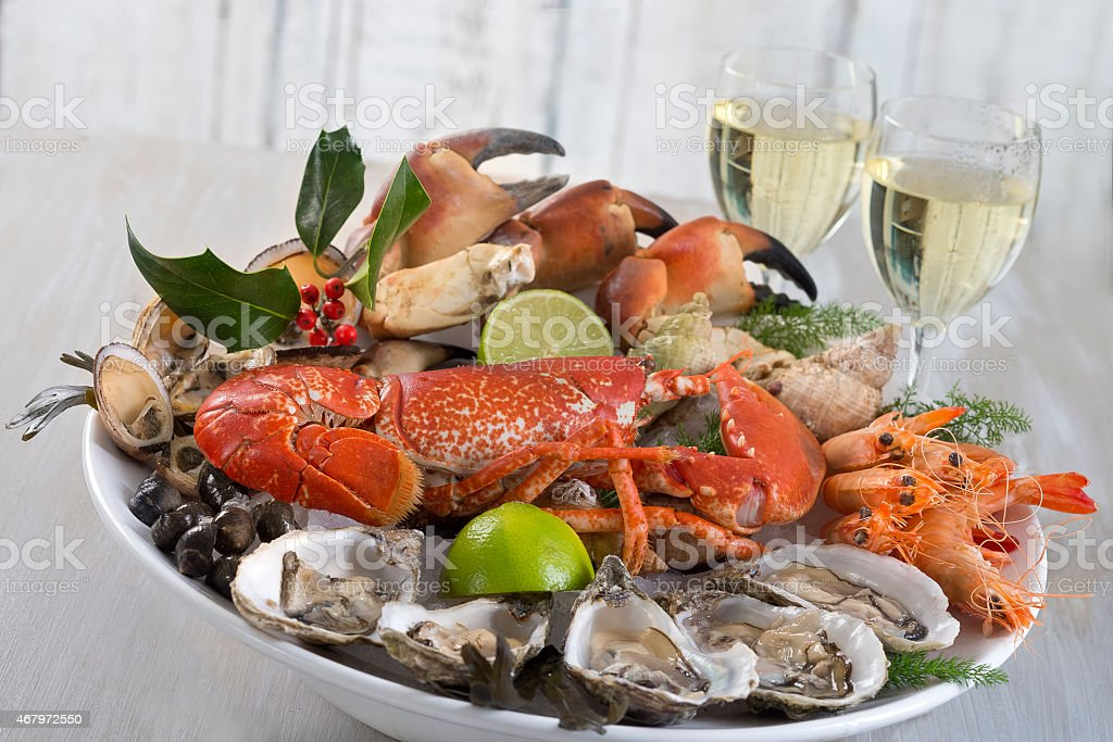 luxury seafood plater stock photo
