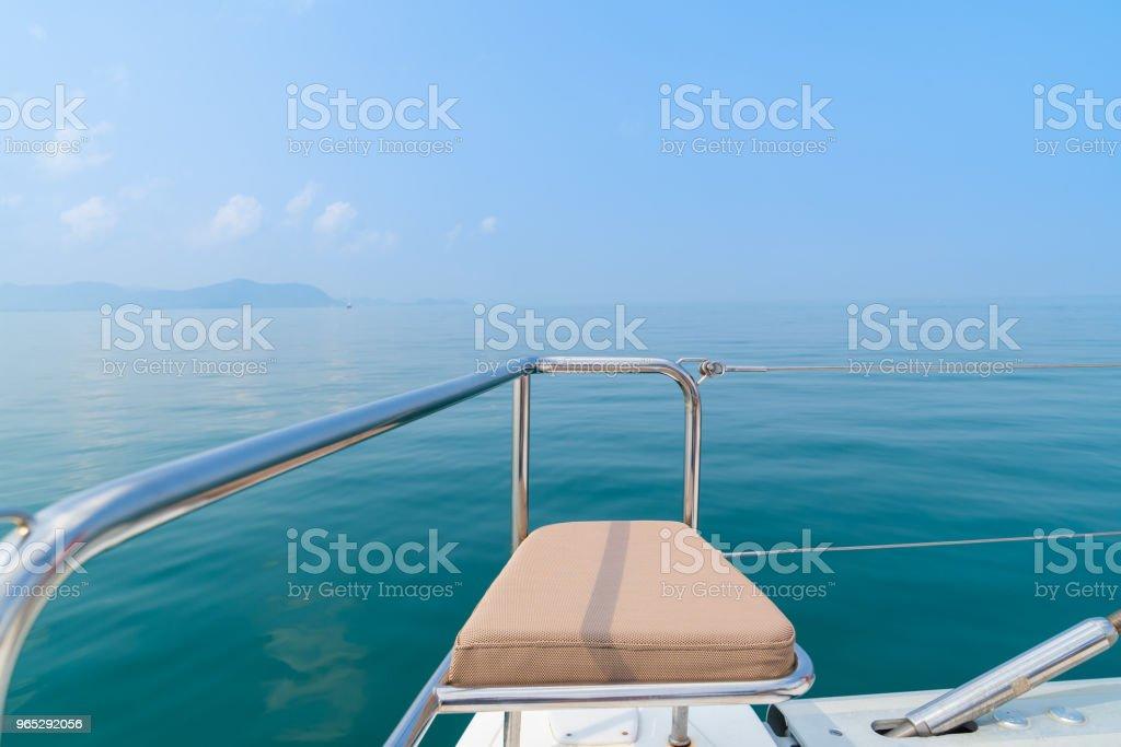 Luxury seat sea view in yacht on blue sky sunset light background. zbiór zdjęć royalty-free