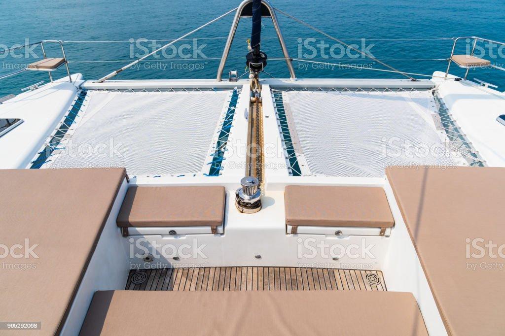 Luxury seat sea view in yacht on blue sky sunset light background. - Zbiór zdjęć royalty-free (Bez ludzi)