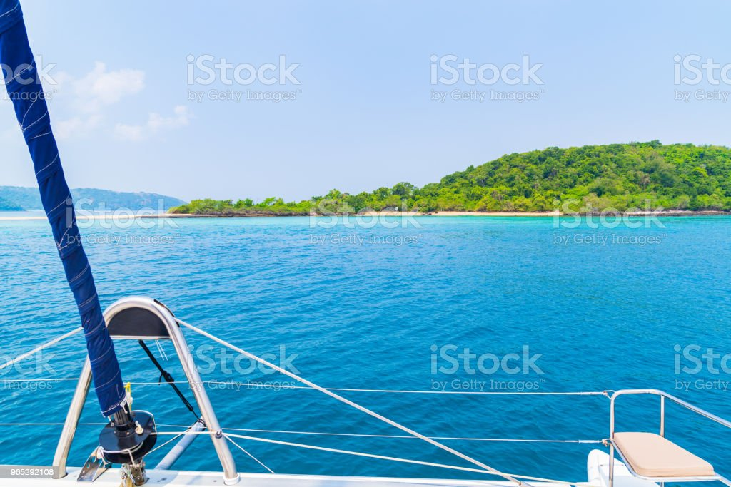 Luxury seat sea view in yacht on blue sky sunset light background. zbiór zdjęć royalty-free