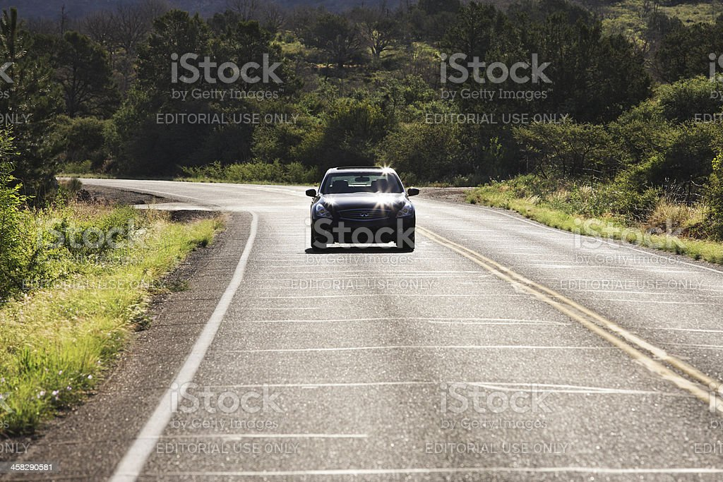 Luxury Sedan Car Country Road stock photo