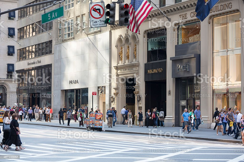 Luxury Shopping on 5th Avenue in New York City, USA stock photo