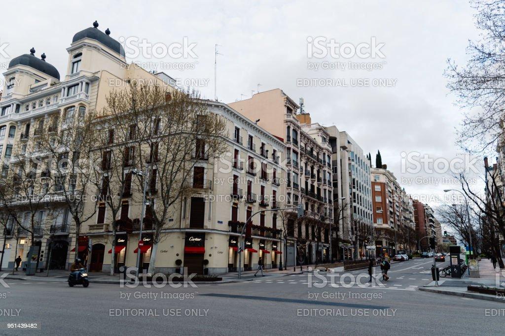 Luxury shopping street in Madrid stock photo