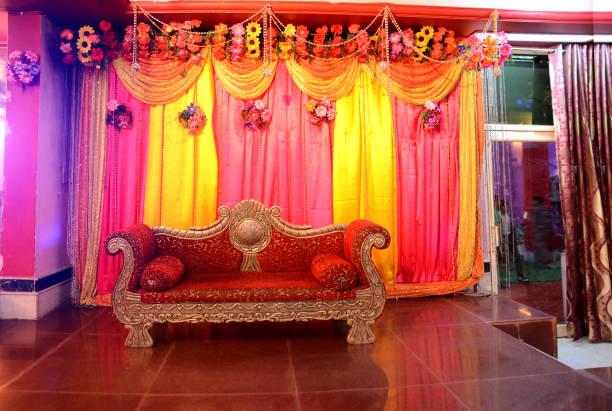 Luxury sofa for wedding couple in wedding reception hall stock photo
