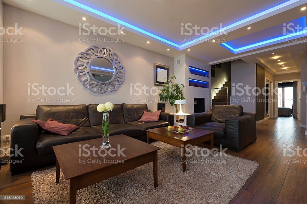 Luxury Specious Living Room Interior With Modern Ceiling Lights Stock Photo Download Image Now Istock