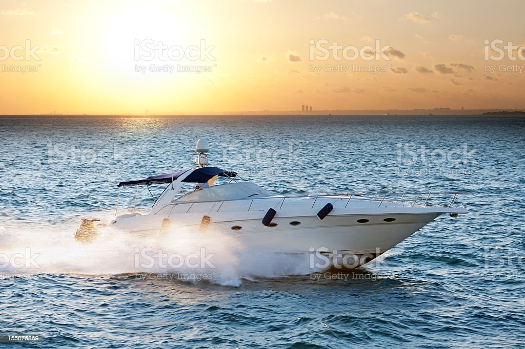luxury speedboat stock photo