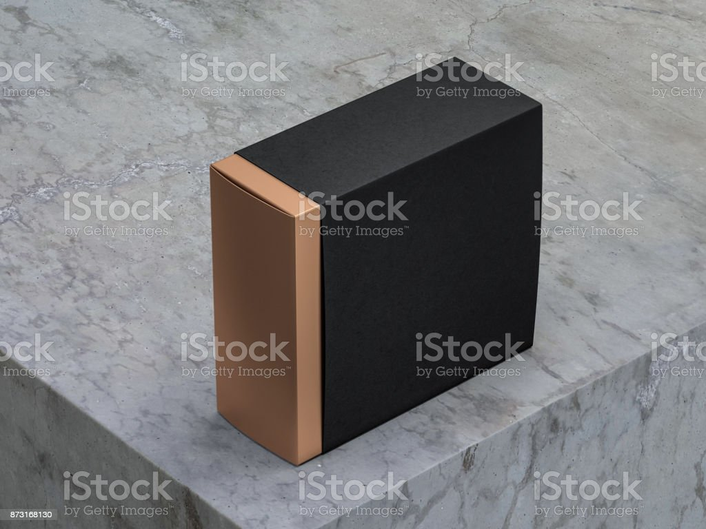 Luxury Square Golden Box Mockup in Black textured cover on concrete table stock photo