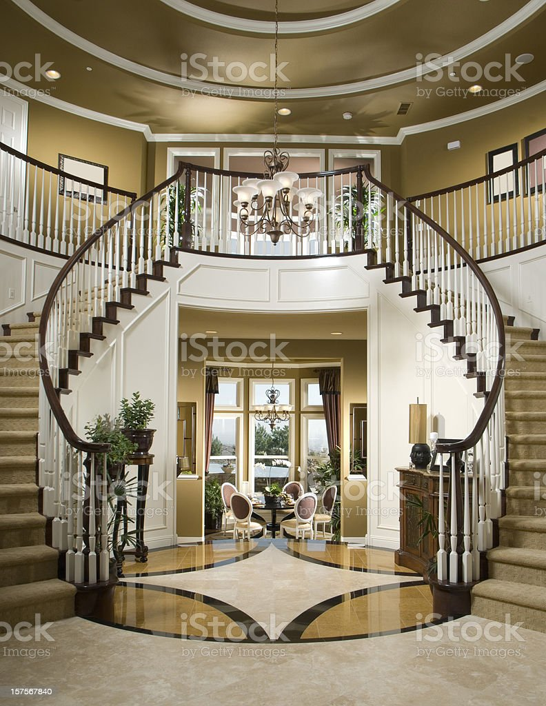 Luxury stair entry interior home design stock photo more for Luxury staircase design