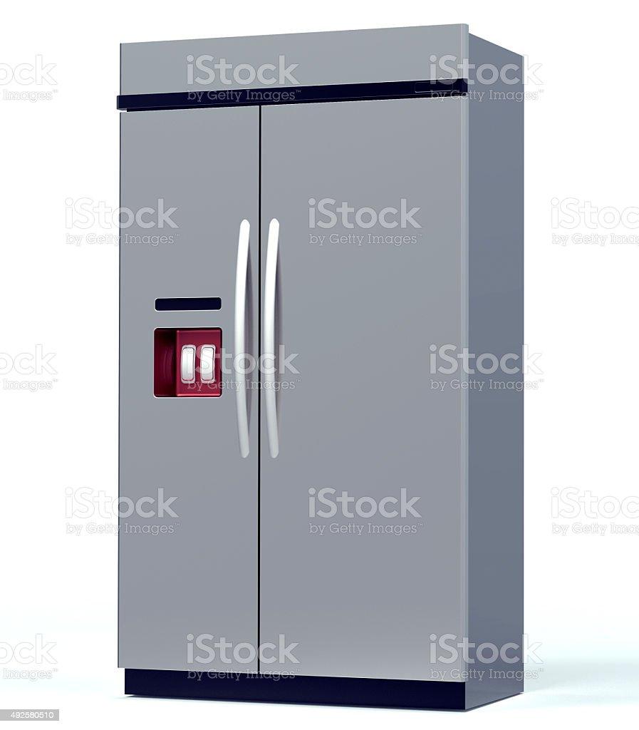 luxury steel refrigerator isolated on white stock photo