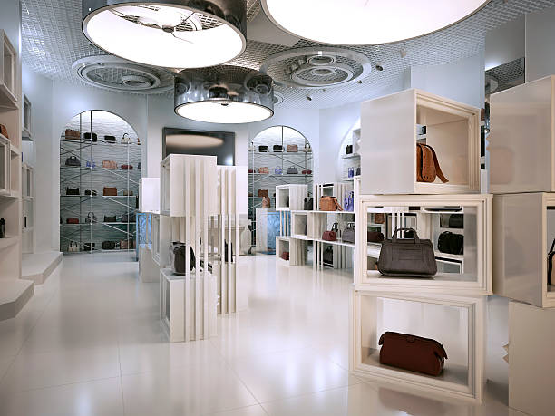 Luxury store interior design art deco style with hints
