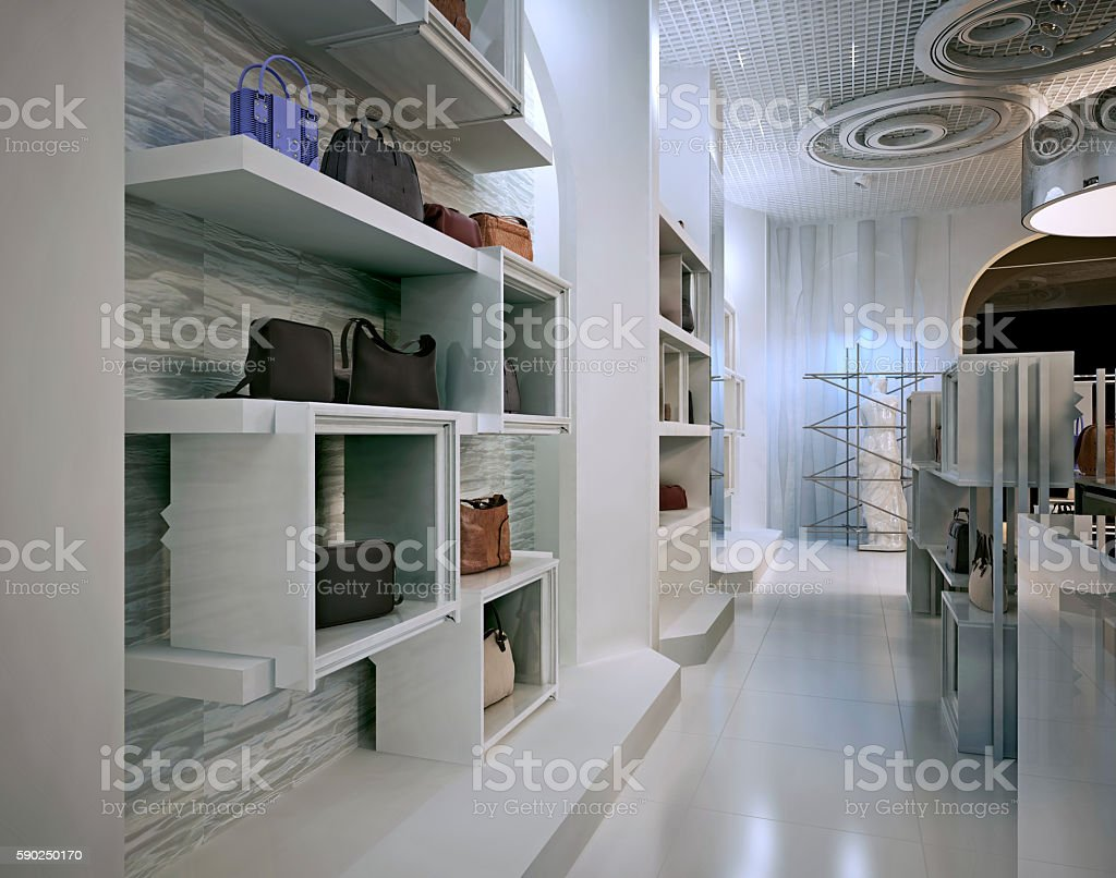 Luxury store interior design art deco style with hints stock photo