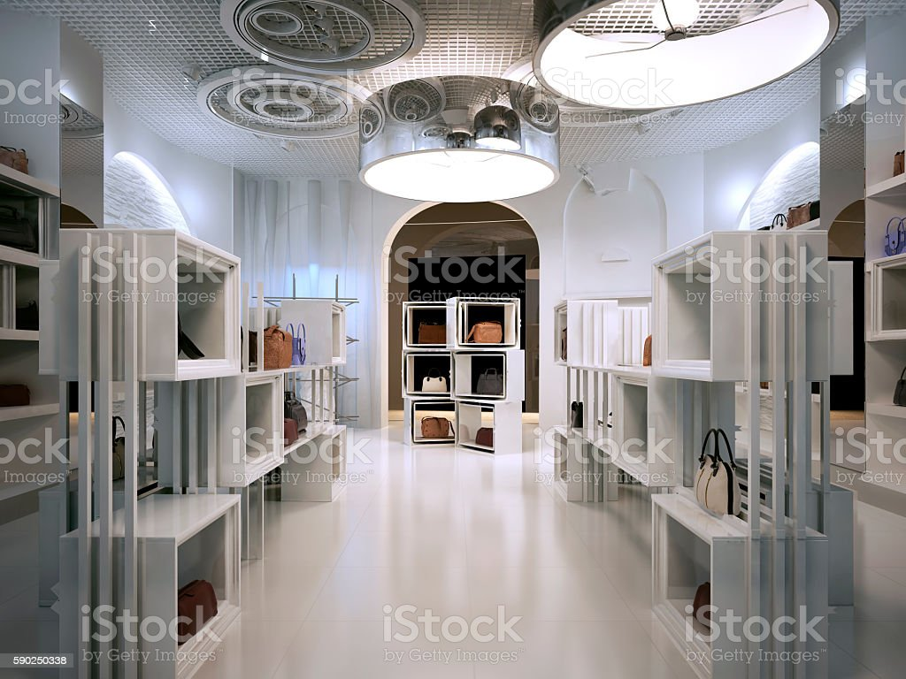 Luxury store interior design art deco style with hints stock