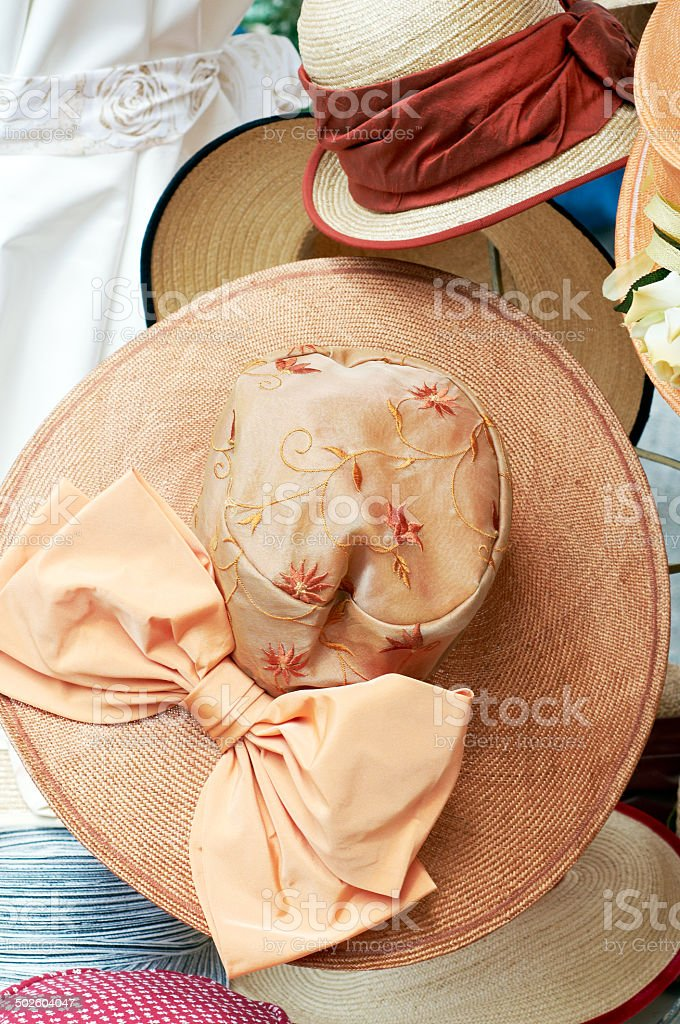 Luxury Straw Hat on a Display stock photo