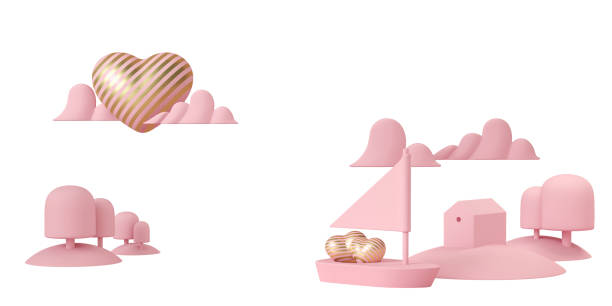 luxus streifen gold herz auf rosa boot segeln im meer auf weißem hintergrund. liebe wie sonnenschein. segeln mit liebe. 3d-render. - kunst 1. klasse stock-fotos und bilder