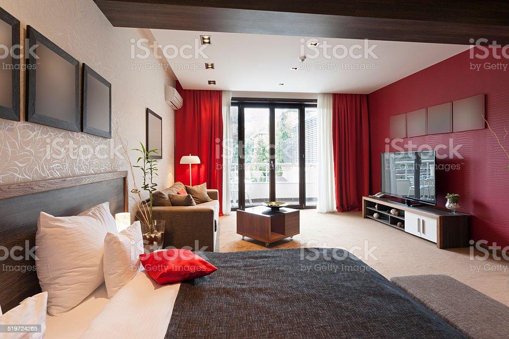Luxury studio apartment interior stock photo