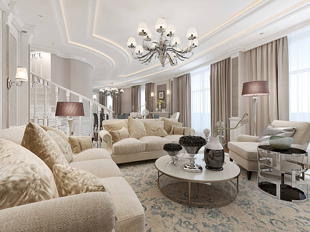 Luxury studio interior Luxury studio interior. 3d render neo classical stock pictures, royalty-free photos & images
