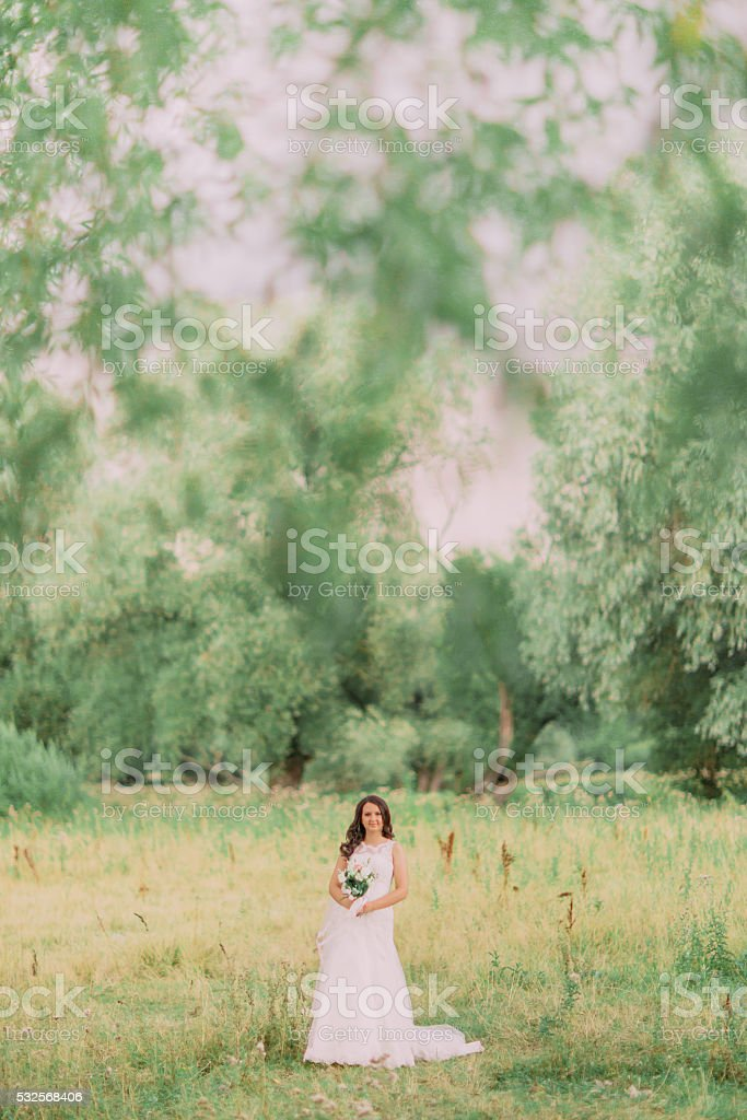 Luxury stylish young bride on the background of spring sunny stock photo
