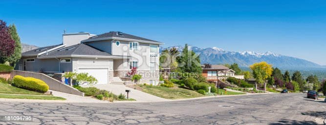 Luxury suburban homes on a tree lined street overlooked by snow capped mountains and clear blue skies. ProPhoto RGB profile for maximum color fidelity and gamut.