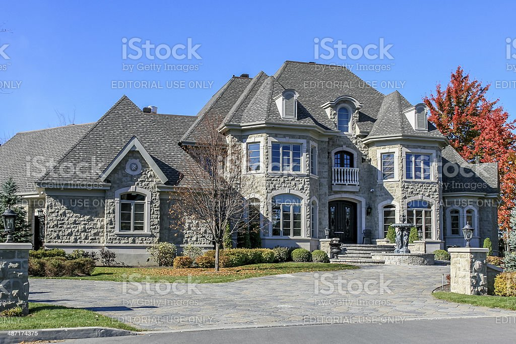 Luxury Suburban House Exterior in Autumn stock photo