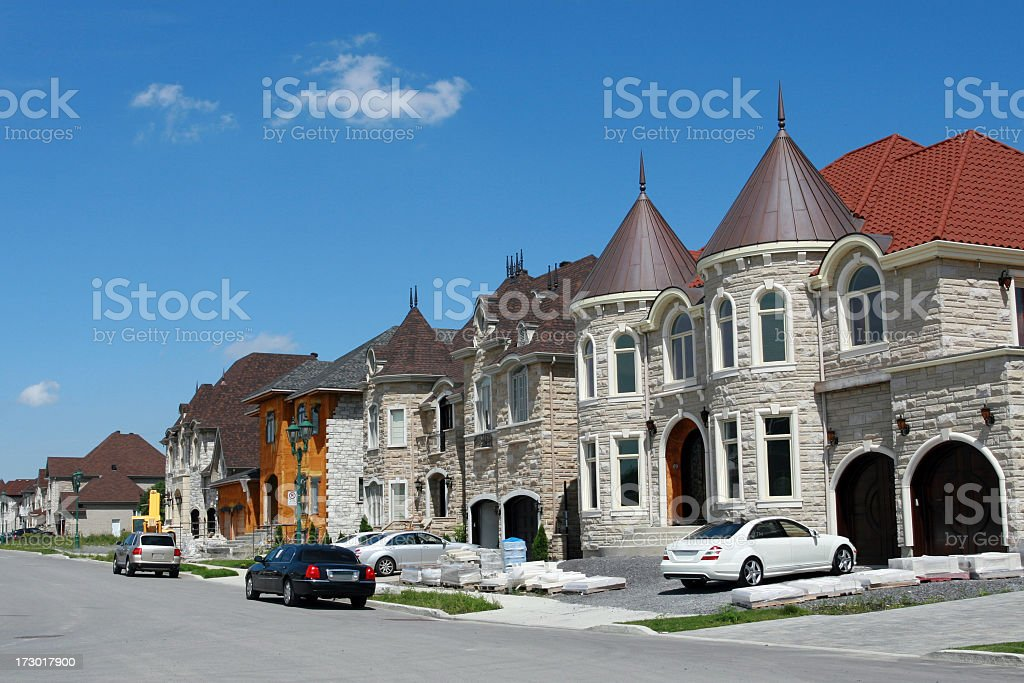 Luxury Suburban Houses Exterior in Summer stock photo