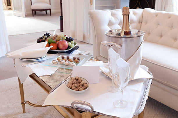 Luxury Suite Welcoming in Paris stock photo