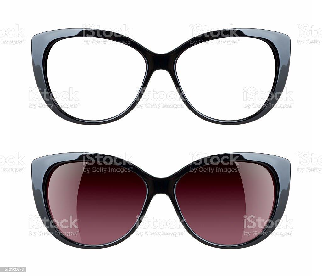 Luxury sunglasses isolated on white background stock photo