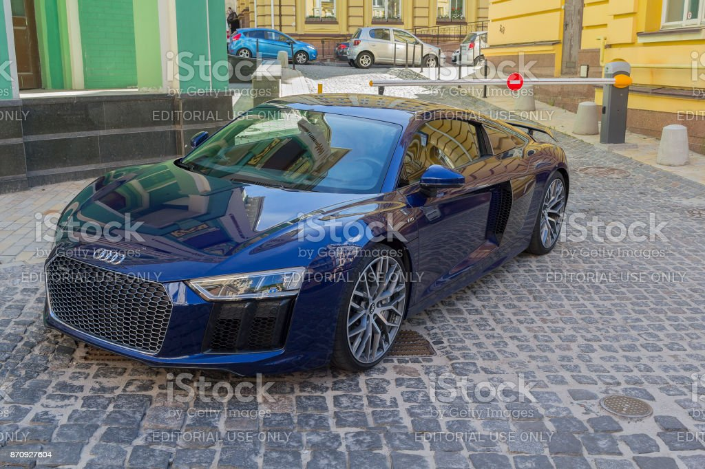 Luxury supercar parked in the elite quarter stock photo