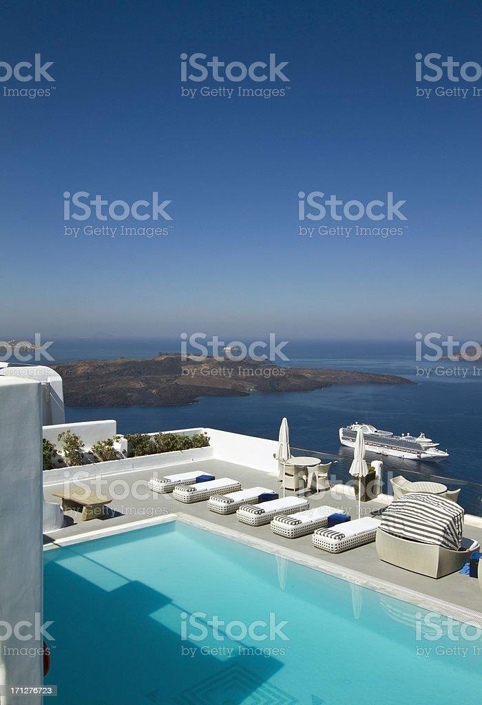 Luxury swimming pool in Santorini in Greece royalty-free stock photo