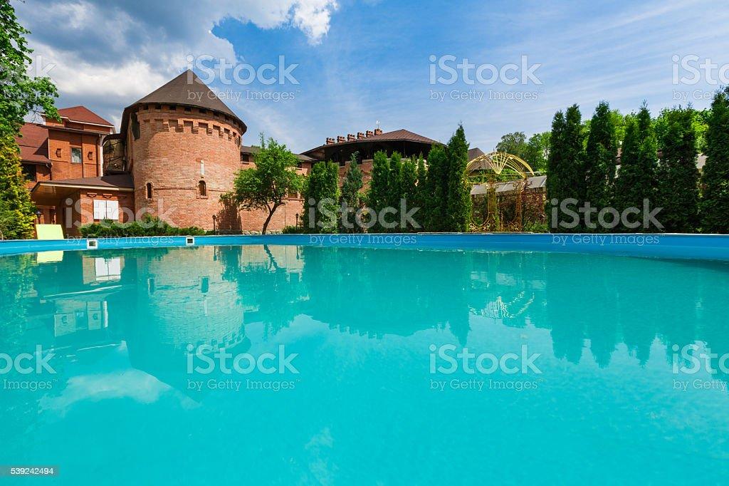 Luxury swimming pool near the hotel royalty-free stock photo