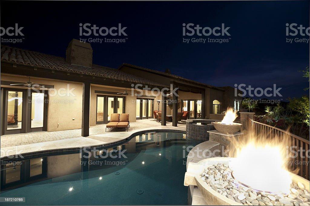 Luxury Swimming Pool Night Scene royalty-free stock photo