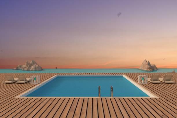 luxus-schwimmbad mit strand-lounge-meerblick in 3d-rendering - schwimmbad nrw stock-fotos und bilder