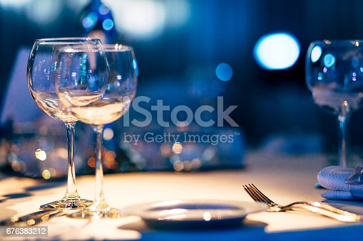 Design details of luxury events. Things like beautiful table setting ready for the event.