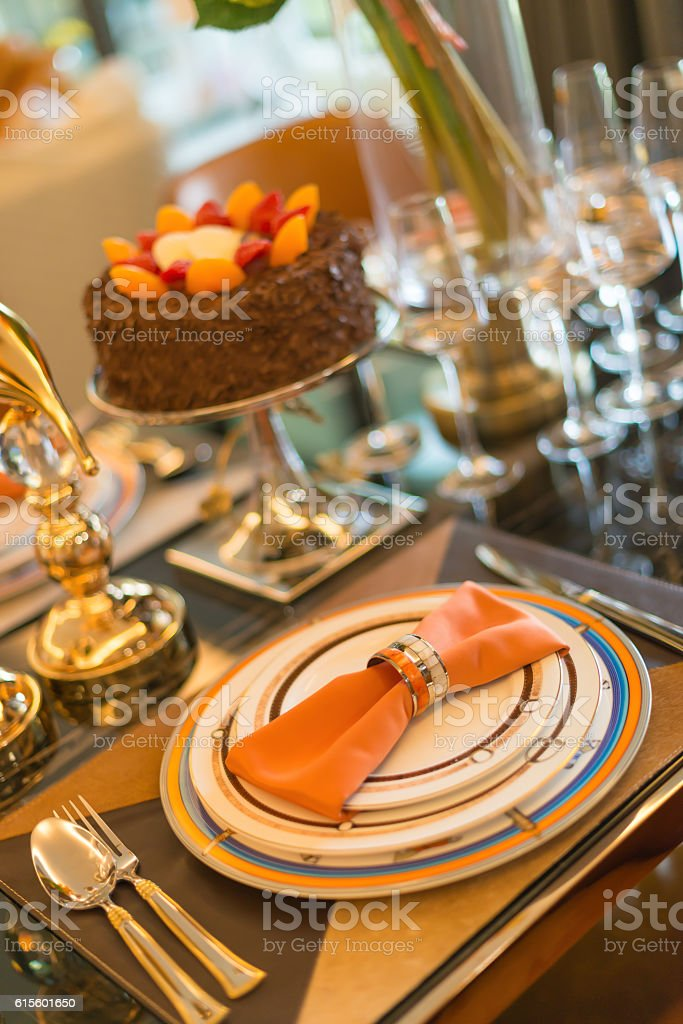 Luxury Table Setting With A Birthday Cake Selective Focus Royalty Free Stock Photo