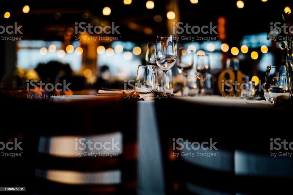 Luxury table settings for fine dining with and glassware, beautiful...