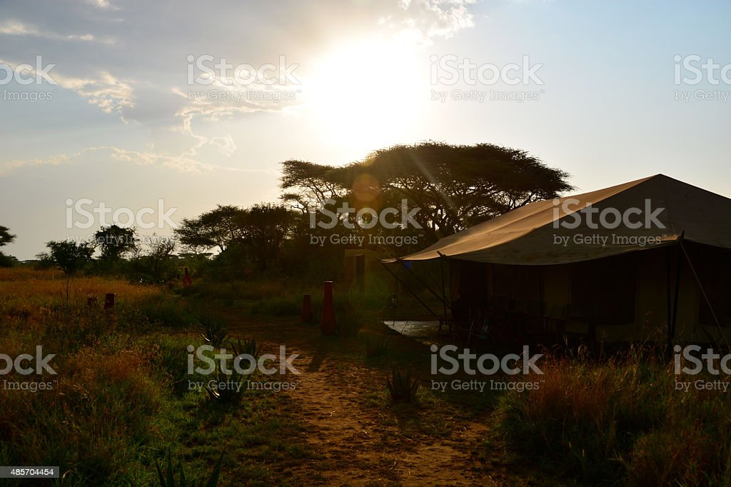 Luxury Tented safari camp Serengeti during sunset stock photo